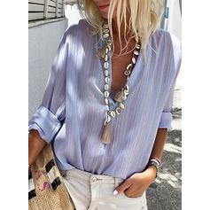 Jednobarevný Klopa Dlouhé rukávy Na Knoflíky Neformální Sexy Bluze