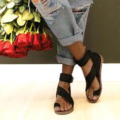 De mujer Cuero Tacón plano Sandalias Planos Encaje Anillo del dedo del pie con Hebilla zapatos