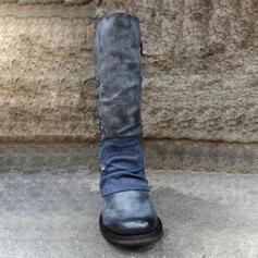 Dámské PU Široký podpatek Boty S Přezka Zip Šněrovací obuv