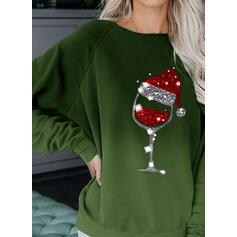 flitry Kulatý Výstřih Dlouhé rukávy Vánoční mikina