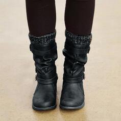 De mujer PU Tacón plano Botas Botas longitud media Botas de invierno con Hebilla zapatos