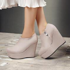 Vrouwen Suede Wedge Heel Enkel Laarzen Ronde neus met Rits Effen kleur schoenen
