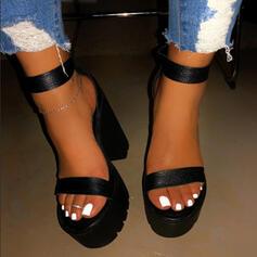 De mujer PU Tacón ancho Sandalias Encaje con Color sólido zapatos