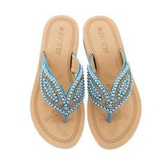 De mujer Cuero Tacón plano Sandalias Planos Solo correa Pantuflas con Perlas de imitación zapatos