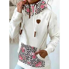 Stampa Floreale leopardo Maniche lunghe con cappuccio