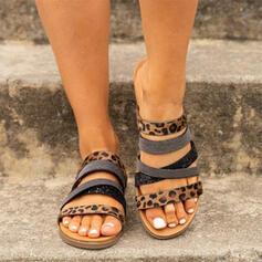 De mujer Cuero Tacón plano Sandalias Planos Solo correa Pantuflas con Material Block zapatos