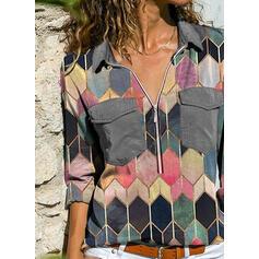 Geometrica Risvolto Maniche lunghe Casuale Camicie