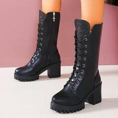 Donna PU Tacco spesso Stivali altezza media Martin boots Punta rotonda con Allacciato Colore solido scarpe