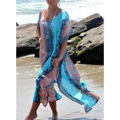Färgglada V-ringning Vacker Strandklänningar Badkläder