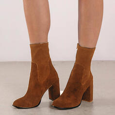 Donna Camoscio Tacco spesso Stivali altezza media Martin boots Punta a punta con Colore solido scarpe