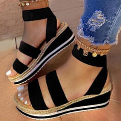 Vrouwen Kunstleer Wedge Heel Sandalen Plateau Wedges Peep Toe met Gesplitste Stof schoenen