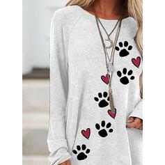 Zwierze Serce Okrągły Dekolt Długie rękawy Bluza