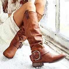 婦人向け PU チャンクヒール ミッドカーフブーツ とともに バックル ソリッドカラー 靴
