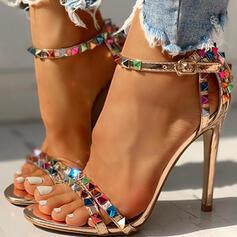 De mujer PU Tacón stilettos Sandalias Encaje con Rhinestone Hebilla zapatos