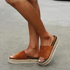 Kvinnor Mocka Flat Heel Sandaler Tofflor rund tå med Flätad rem skor