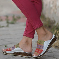 PU Platforme Înalte Sandale Platforme Puţin decupat în faţă Şlapi cu De la gât înafară pantofi