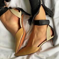 婦人向け PU スティレットヒール サンダル ポンプ とともに くり抜いた スプライスカラー 靴