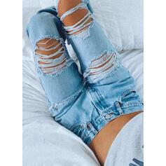 Bavlna Dlouho Neformální Sexy hlubokým výstřihem patch Bandáž Kalhoty Denim & Džíny
