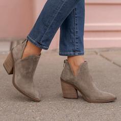 Pentru Femei Piele de Căprioară Toc gros Botine Vârf scăzut Cu vârful cu Fermoar Culoare solida pantofi