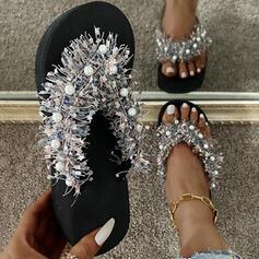 De mujer PU Tacón plano Sandalias Planos Encaje Chancletas Pantuflas con Agujereado Borla zapatos