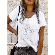 Sequins V-Neck Short Sleeves T-shirts