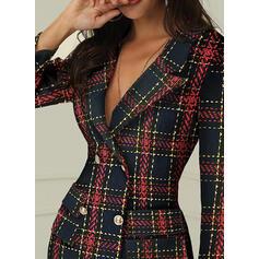 Plaid Long Sleeves Bodycon Above Knee Casual/Elegant Dresses