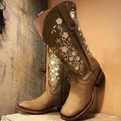 婦人向け PU チャンクヒール ブーツ ミッドカーフブーツ とともに フローラル 刺繍 靴