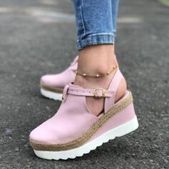 De mujer Ante Tipo de tacón Salón Cerrados Cuñas Solo correa con Hebilla zapatos