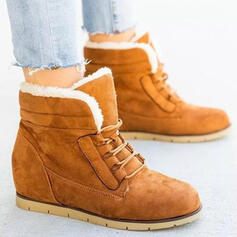 Women's PU Wedge Heel Boots Winter Boots With Lace-up Colorblock shoes