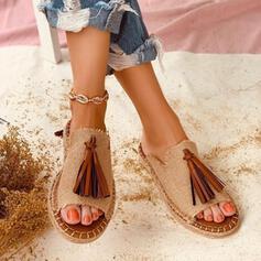 De mujer PU Tacón plano Pantuflas con Borla zapatos