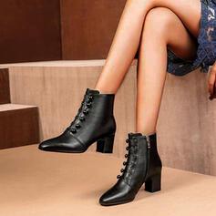 Naisten Keinonahasta Chunky heel Avokkaat Kengät Nilkkurit Terävä varpa jossa Vetoketju Button kengät