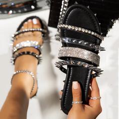 De mujer PU Tacón plano Sandalias Pantuflas con Rivet zapatos