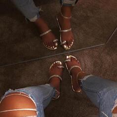 PU Επίπεδη φτέρνα Σανδάλια Ανοιχτά σανδάλια toe Με Τεχνητό διαμάντι παπούτσια