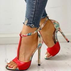 De mujer Cuero Tacón stilettos Sandalias Salón Encaje con Hebilla zapatos