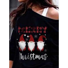 Nyomtatás rács Postava Jedno rameno Dlouhé rukávy Vánoční mikina