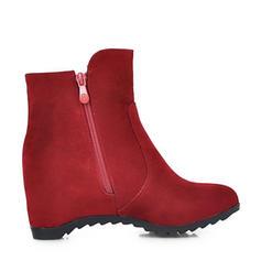 Pentru Femei Piele de Căprioară Platforme Înalte Platforme Cizme Botine cu Fermoar pantofi