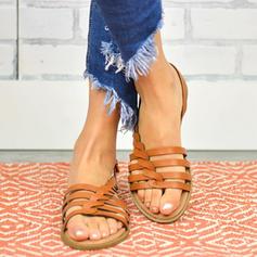 PU Επίπεδη φτέρνα Σανδάλια Διαμερίσματα Ανοιχτά σανδάλια toe Με Πόρπη παπούτσια