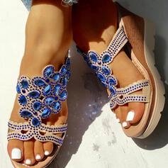 De mujer PU Tipo de tacón Sandalias Cuñas Encaje Pantuflas Tacones con Rhinestone zapatos