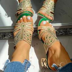 De mujer PU Tacón ancho Sandalias Encaje Pantuflas con Rhinestone Agujereado zapatos