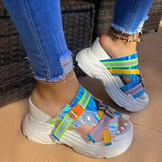 Women's PU Flat Heel Sandals Flats Wedges Peep Toe Slippers Heels With Buckle Splice Color shoes