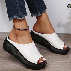 De mujer PU Tipo de tacón Sandalias Encaje Pantuflas con Color sólido zapatos