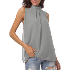 Solid Stand-up Collar Sleeveless Casual Elegant Tank Tops