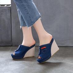 De mujer PU Tipo de tacón Sandalias Cuñas Encaje zapatos