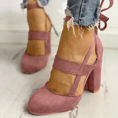 Καστόρι Χοντρό φτέρνα Γοβάκια Κλειστά παπούτσια Με Κέντημα-επάνω παπούτσια
