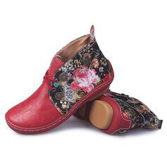 De mujer Cuero Tacón plano Botas al tobillo Encaje con Color sólido Bordado zapatos