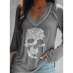 Cekiny Dekolt w kształcie litery V Długie rękawy Casual T-shirty
