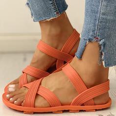 De mujer PVC Tacón plano Sandalias Encaje zapatos