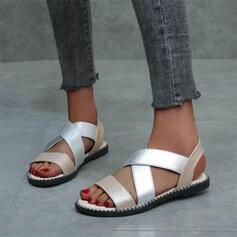 De mujer Cuero Tacón plano Sandalias con Banda elástica zapatos
