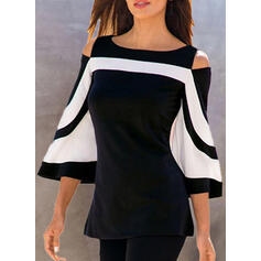 Color Block Cold Shoulder Flare Sleeve 3/4 Sleeves Casual Blouses