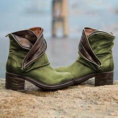 Dámské PU Široký podpatek Boty S Zip Ze dvou částí obuv